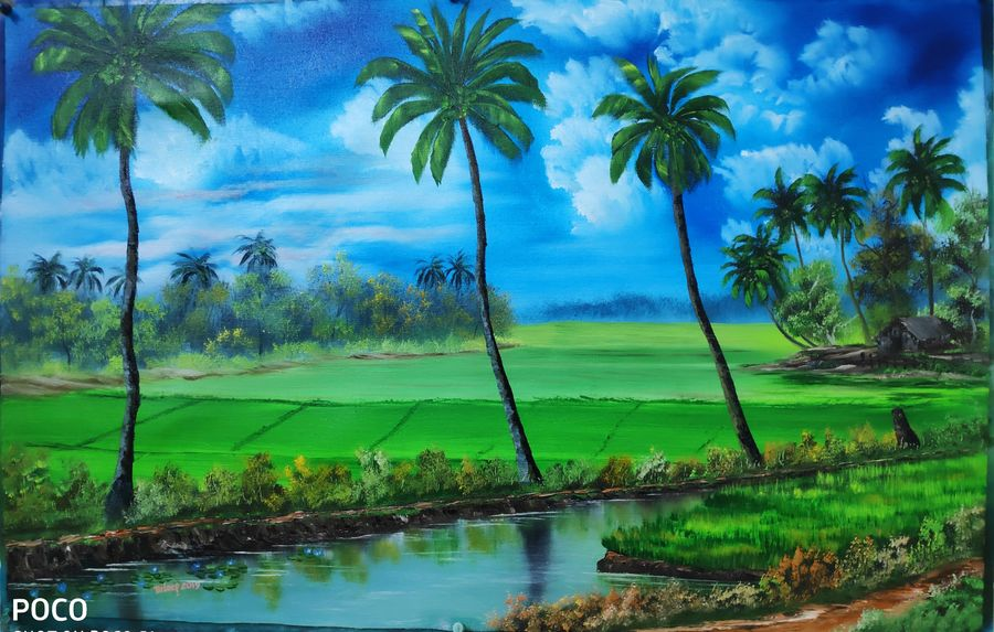 Buy Kerala Landscape Painting At Lowest Price By Dr Dileep K J