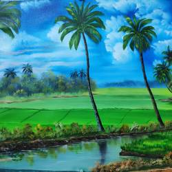 kerala landscape, 28 x 18 inch, dr dileep  k j,28x18inch,canvas,landscape paintings,paintings for dining room,paintings for living room,paintings for bedroom,paintings for office,paintings for hotel,paintings for dining room,paintings for living room,paintings for bedroom,paintings for office,paintings for hotel,oil color,GAL01771028864