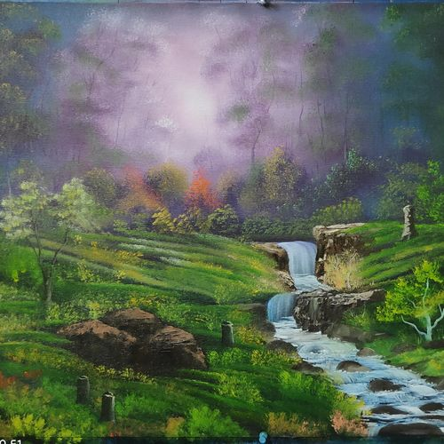 mysterious forest water fall, 28 x 18 inch, dr dileep  k j,28x18inch,canvas,paintings,landscape paintings,paintings for living room,paintings for bedroom,paintings for office,paintings for hotel,oil color,GAL01771028865