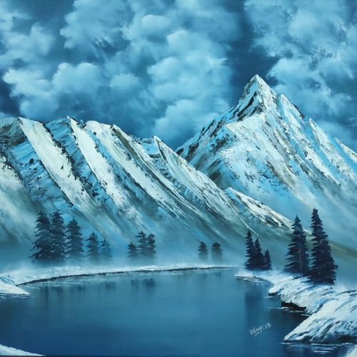 mountain lake: frozen , 28 x 18 inch, dr dileep  k j,28x18inch,canvas,paintings,landscape paintings,paintings for living room,paintings for bedroom,paintings for office,paintings for hotel,oil color,GAL01771028866