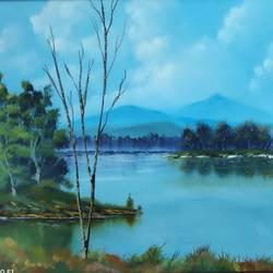 sunny day island view, 28 x 18 inch, dr dileep  k j,28x18inch,canvas,paintings,landscape paintings,paintings for living room,paintings for bedroom,paintings for office,paintings for hotel,oil color,GAL01771028867