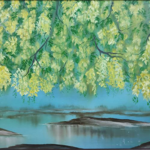 vishu, kanikkonna, 28 x 18 inch, dr dileep  k j,28x18inch,canvas board,paintings,landscape paintings,nature paintings | scenery paintings,paintings for living room,paintings for bedroom,paintings for office,paintings for hotel,oil color,GAL01771028869