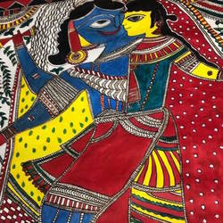madhubani panting, 22 x 28 inch, rina katiyar,22x28inch,ivory sheet,paintings,madhubani paintings | madhubani art,paintings for living room,paintings for bedroom,paintings for office,paintings for hotel,paintings for hospital,ink color,GAL01771828872