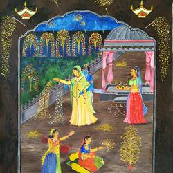 subh diwali, 16 x 24 inch, aruna asaf ali,16x24inch,canvas,paintings,abstract paintings,folk art paintings,radha krishna paintings,love paintings,paintings for dining room,paintings for living room,paintings for bedroom,paintings for office,paintings for kids room,paintings for hotel,paintings for kitchen,paintings for school,paintings for hospital,acrylic color,mixed media,GAL0602728883