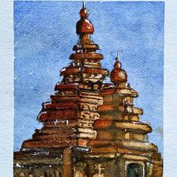 temple hangout, 9 x 12 inch, rajnish gururaj,9x12inch,thick paper,paintings,impressionist paintings,watercolor,paper,GAL01773828885
