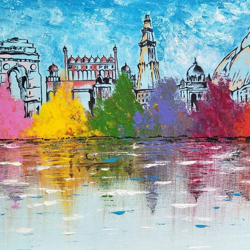 dilli skyline, 20 x 12 inch, aruna asaf ali,20x12inch,canvas,paintings,abstract paintings,cityscape paintings,paintings for dining room,paintings for living room,paintings for bedroom,paintings for office,paintings for kids room,paintings for hotel,paintings for kitchen,paintings for school,paintings for hospital,acrylic color,GAL0602728886