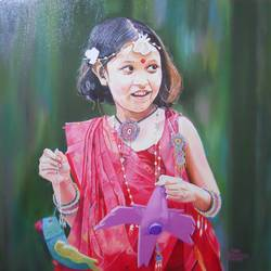 cute girl, 29 x 29 inch, amruta dabhekar,portrait paintings,paintings for office,canvas,oil,29x29inch,GAL09542889