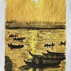 sunset by the river ganga, 6 x 8 inch, rajnish gururaj,6x8inch,thick paper,paintings,impressionist paintings,paintings for dining room,paintings for living room,paintings for bedroom,paintings for office,paintings for bathroom,paintings for kids room,paintings for hotel,paintings for kitchen,paintings for school,paintings for hospital,paintings for dining room,paintings for living room,paintings for bedroom,paintings for office,paintings for bathroom,paintings for kids room,paintings for hotel,paintings for kitchen,paintings for school,paintings for hospital,watercolor,paper,GAL01773828893