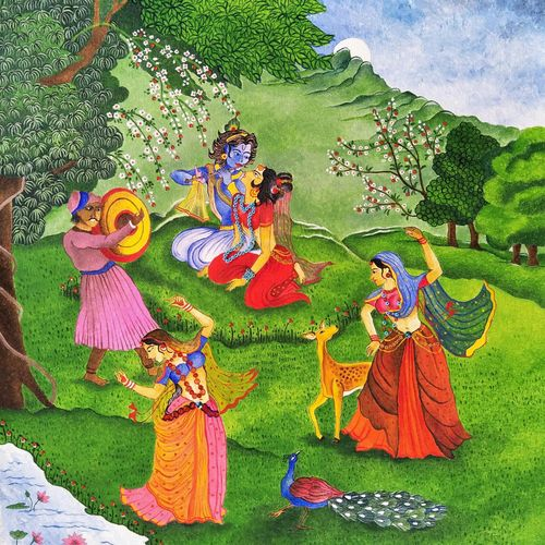 mughal raas, 16 x 24 inch, aruna asaf ali,16x24inch,canvas,paintings,abstract paintings,radha krishna paintings,love paintings,paintings for dining room,paintings for living room,paintings for bedroom,paintings for office,paintings for kids room,paintings for hotel,paintings for kitchen,paintings for school,paintings for hospital,acrylic color,mixed media,GAL0602728894