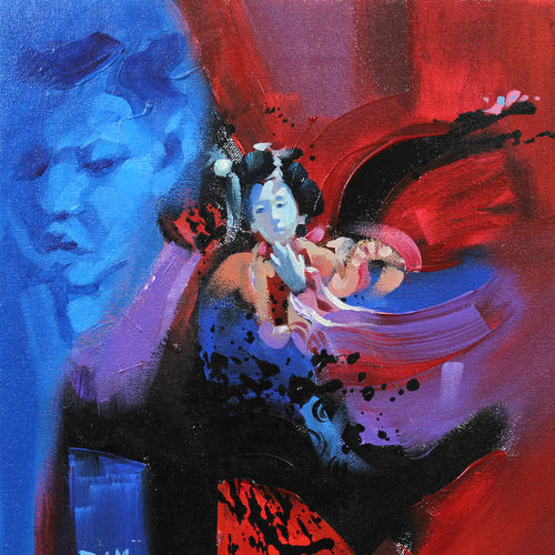 joy of a kid , 12 x 12 inch, raj maji,figurative paintings,paintings for bedroom,canvas,acrylic color,12x12inch,GAL0121289