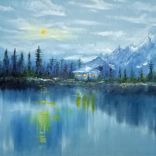 beauty of dark nature, 36 x 25 inch, hriday  das,landscape paintings,paintings for living room,nature paintings,paintings for office,canvas,oil,36x25inch,GAL09832890Nature,environment,Beauty,scenery,greenery,trees,water,beautiful,leaves