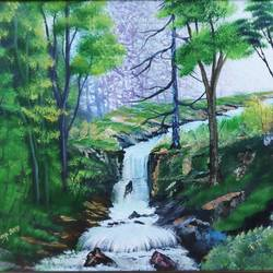 water fall, 28 x 18 inch, dr dileep  k j,28x18inch,canvas board,paintings,landscape paintings,nature paintings | scenery paintings,oil color,GAL01771028916