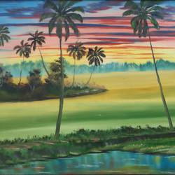 kerala scape, 28 x 18 inch, dr dileep  k j,28x18inch,canvas board,paintings,landscape paintings,nature paintings | scenery paintings,paintings for living room,paintings for bedroom,paintings for office,paintings for hotel,oil color,GAL01771028919
