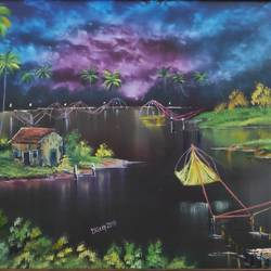 lullaby: kerala , 28 x 18 inch, dr dileep  k j,28x18inch,canvas board,paintings,landscape paintings,expressionism paintings,paintings for living room,paintings for bedroom,paintings for office,paintings for hotel,paintings for hospital,oil color,GAL01771028920