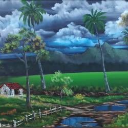 monsoon clouds: kerala scape, 28 x 18 inch, dr dileep  k j,28x18inch,canvas board,paintings,landscape paintings,nature paintings | scenery paintings,paintings for living room,paintings for bedroom,paintings for office,paintings for hotel,paintings for school,paintings for hospital,oil color,GAL01771028921