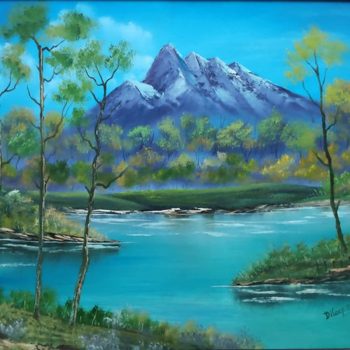 abode with the blue mountains, 28 x 18 inch, dr dileep  k j,28x18inch,canvas board,paintings,landscape paintings,nature paintings | scenery paintings,paintings for living room,paintings for bedroom,paintings for office,paintings for kids room,paintings for hotel,paintings for school,paintings for hospital,oil color,GAL01771028922