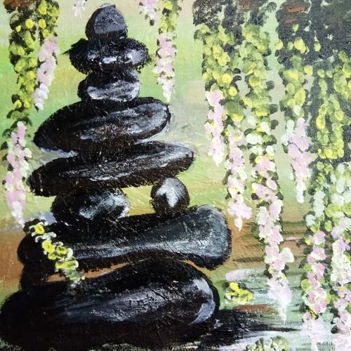 stones and water - a still life piece, 10 x 21 inch, v s gaurav narayan,10x21inch,canvas,paintings,still life paintings,paintings for dining room,paintings for living room,paintings for bedroom,paintings for office,paintings for bathroom,paintings for kids room,paintings for hotel,paintings for kitchen,paintings for school,paintings for hospital,acrylic color,GAL01045428924