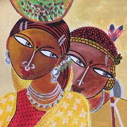 tribal women - indigenous indian art, 18 x 14 inch, v s gaurav narayan,18x14inch,canvas,paintings,abstract paintings,folk art paintings,modern art paintings,paintings for dining room,paintings for living room,paintings for bedroom,paintings for office,paintings for bathroom,paintings for kids room,paintings for hotel,paintings for kitchen,paintings for school,paintings for hospital,acrylic color,GAL01045428925