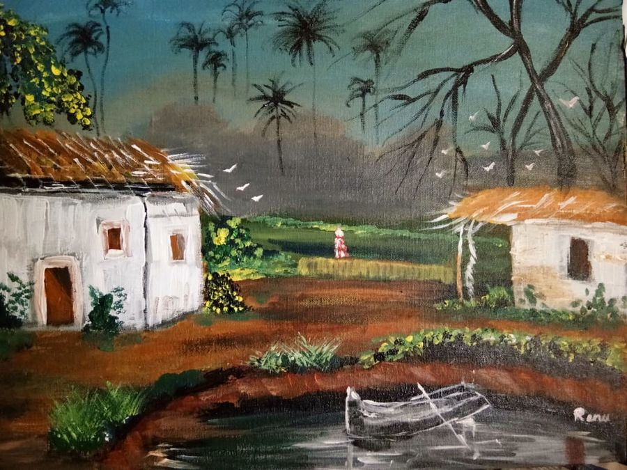 The hut traditional indian painting