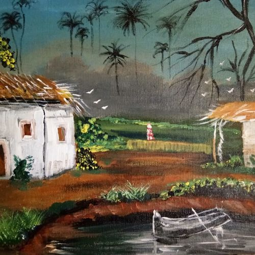 the hut - traditional indian painting, 20 x 16 inch, v s gaurav narayan,20x16inch,canvas,paintings,cityscape paintings,landscape paintings,nature paintings | scenery paintings,paintings for dining room,paintings for living room,paintings for bedroom,paintings for office,paintings for bathroom,paintings for kids room,paintings for hotel,paintings for kitchen,paintings for school,paintings for hospital,acrylic color,GAL01045428926