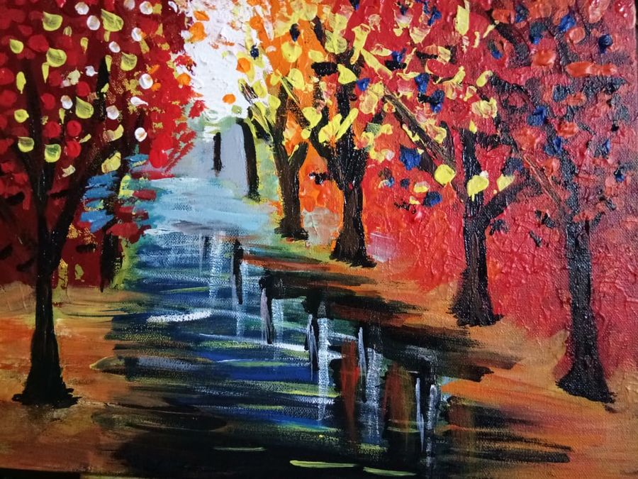 Autumn leaves a nature painting