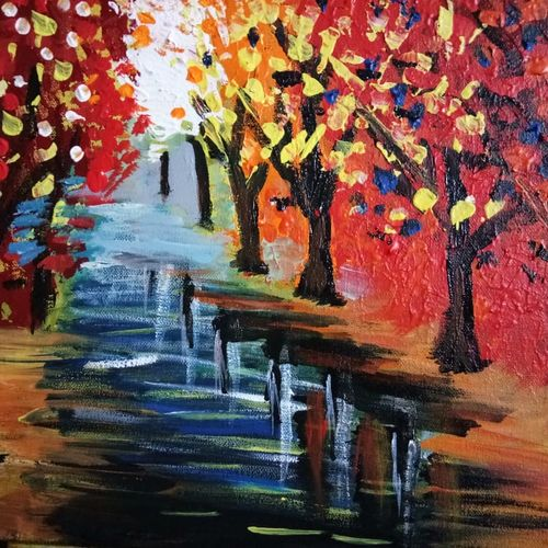 autumn leaves - a nature painting, 16 x 12 inch, v s gaurav narayan,16x12inch,canvas board,paintings,landscape paintings,nature paintings | scenery paintings,paintings for dining room,paintings for living room,paintings for bedroom,paintings for office,paintings for bathroom,paintings for kids room,paintings for hotel,paintings for kitchen,paintings for school,paintings for hospital,acrylic color,GAL01045428928
