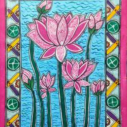 lotus, 12 x 16 inch, akanksha sinha,12x16inch,canvas,flower paintings,folk art paintings,paintings for living room,paintings for bedroom,paintings for office,paintings for kids room,paintings for school,paintings for living room,paintings for bedroom,paintings for office,paintings for kids room,paintings for school,acrylic color,pen color,GAL01104128930