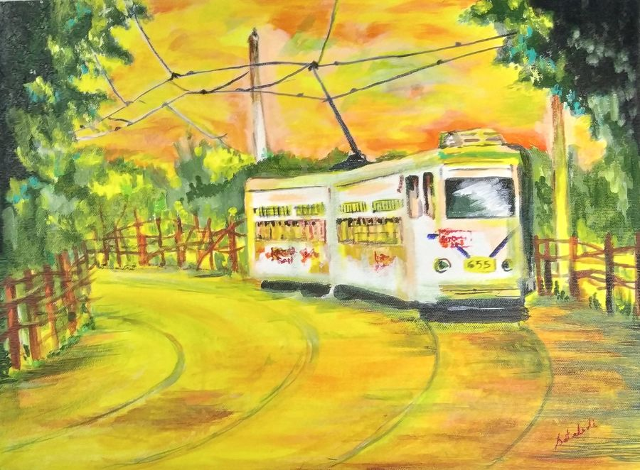 tram ride, 12 x 16 inch, satabdi roy,12x16inch,canvas board,paintings,nature paintings | scenery paintings,paintings for dining room,paintings for living room,paintings for bedroom,paintings for office,paintings for hotel,acrylic color,GAL01778728933