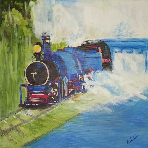 •	toy train , 12 x 12 inch, satabdi roy,12x12inch,canvas board,paintings,nature paintings | scenery paintings,paintings for living room,paintings for office,paintings for hotel,acrylic color,GAL01778728934