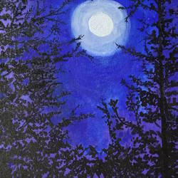 moon night, 10 x 12 inch, satabdi roy,10x12inch,canvas board,paintings,nature paintings | scenery paintings,paintings for living room,paintings for bedroom,paintings for office,paintings for hotel,acrylic color,GAL01778728937