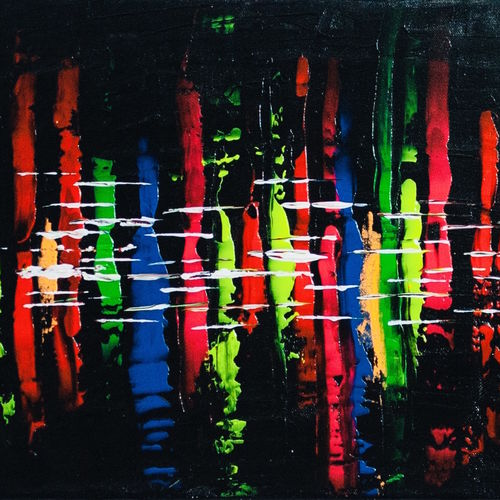 florescent splash on black background, 16 x 12 inch, shallu kaur,16x12inch,canvas,paintings,abstract paintings,paintings for dining room,paintings for living room,paintings for bedroom,paintings for office,paintings for bathroom,paintings for kids room,paintings for hotel,paintings for school,acrylic color,GAL01713328950