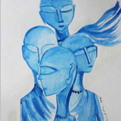 meditation in blue/the blue monks, 8 x 12 inch, nandita basu,8x12inch,paper,paintings,modern art paintings,contemporary paintings,paintings for living room,paintings for office,watercolor,paper,GAL01781128962