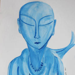 meditation/solitary blue monk, 8 x 12 inch, nandita basu,8x12inch,brustro watercolor paper,paintings,figurative paintings,paintings for dining room,paintings for living room,paintings for office,watercolor,paper,GAL01781128964
