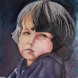 cute boy, 20 x 16 inch, amruta dabhekar,portrait paintings,paintings for office,canvas,oil,20x16inch,GAL09542897