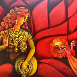 goddess laxmi, 36 x 30 inch, sandhya singh,36x30inch,canvas,abstract paintings,figurative paintings,religious paintings,illustration paintings,paintings for dining room,paintings for bedroom,paintings for hotel,paintings for kitchen,paintings for dining room,paintings for bedroom,paintings for hotel,paintings for kitchen,acrylic color,GAL0874928972