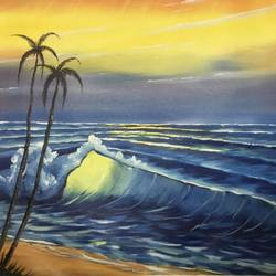 sunrise sea, 26 x 21 inch, shankhadeep  mondal,26x21inch,canvas,paintings,landscape paintings,paintings for dining room,paintings for living room,paintings for bedroom,paintings for office,paintings for kids room,paintings for hotel,paintings for kitchen,paintings for school,paintings for hospital,acrylic color,GAL01403028976