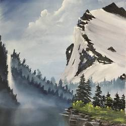 mountain waterfall, 20 x 23 inch, shankhadeep  mondal,20x23inch,canvas,paintings,landscape paintings,paintings for dining room,paintings for living room,paintings for office,paintings for bathroom,paintings for kids room,paintings for hotel,paintings for kitchen,paintings for school,paintings for hospital,acrylic color,GAL01403028977