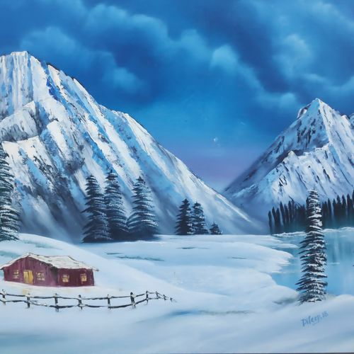 christmas eve: snowy mountains, 28 x 18 inch, dr dileep  k j,28x18inch,canvas,paintings,landscape paintings,nature paintings | scenery paintings,paintings for living room,paintings for bedroom,paintings for office,paintings for hotel,paintings for school,paintings for hospital,oil color,GAL01771028979