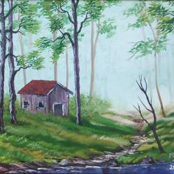misty morning , 28 x 18 inch, dr dileep  k j,28x18inch,canvas,paintings,landscape paintings,nature paintings | scenery paintings,paintings for living room,paintings for bedroom,paintings for office,paintings for hotel,paintings for hospital,oil color,GAL01771028980