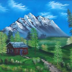 snowy mountain: evergreens, 28 x 18 inch, dr dileep  k j,28x18inch,canvas,paintings,landscape paintings,nature paintings | scenery paintings,paintings for living room,paintings for bedroom,paintings for office,paintings for hotel,paintings for hospital,oil color,GAL01771028981