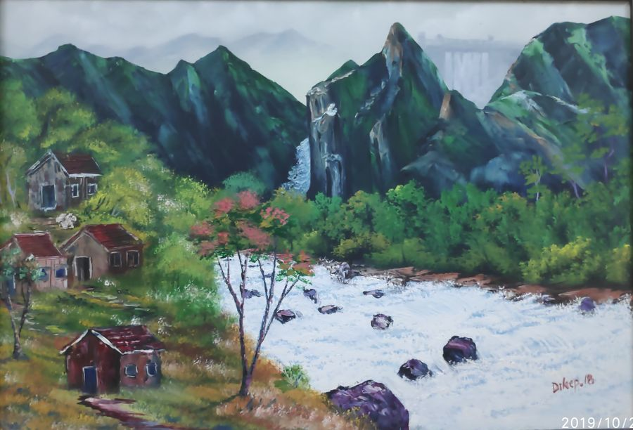 splashing river with distant dam, 28 x 18 inch, dr dileep  k j,28x18inch,canvas,paintings,landscape paintings,nature paintings   scenery paintings,paintings for living room,paintings for bedroom,paintings for office,paintings for hotel,oil color,GAL01771028982