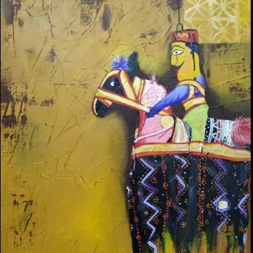 the puppet, 20 x 30 inch, sandhya singh,20x30inch,canvas,paintings,abstract paintings,folk art paintings,modern art paintings,paintings for dining room,paintings for living room,paintings for bedroom,paintings for office,paintings for hotel,paintings for school,paintings for hospital,acrylic color,GAL0874928989