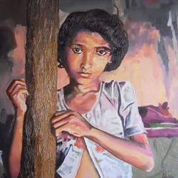 indian village girl, 16 x 20 inch, amruta dabhekar,portrait paintings,paintings for office,canvas,oil,16x20inch,GAL09542899