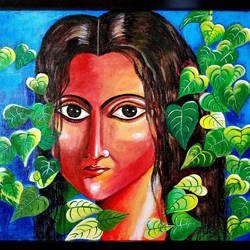 dream girl, 25 x 19 inch, rajyasree pal,25x19inch,canvas,paintings,figurative paintings,acrylic color,GAL01784728990