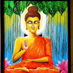 buddha - the light of asia, 21 x 25 inch, rajyasree pal,21x25inch,canvas,paintings,buddha paintings,acrylic color,GAL01784728992
