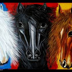 three horses, 31 x 19 inch, rajyasree pal,31x19inch,canvas,paintings,horse paintings,acrylic color,GAL01784728993