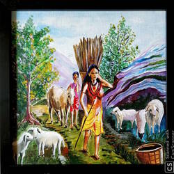 village life, 13 x 13 inch, rajyasree pal,13x13inch,canvas,paintings,nature paintings | scenery paintings,acrylic color,GAL01784728995