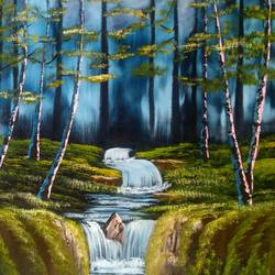 night cascade, 24 x 20 inch, dipali deshpande,nature paintings,paintings for living room,canvas,oil,24x20inch,GAL01632900Nature,environment,Beauty,scenery,greenery
