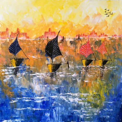 the calm seashore, 18 x 20 inch, aruna asaf ali,18x20inch,canvas,paintings,abstract paintings,landscape paintings,nature paintings | scenery paintings,paintings for dining room,paintings for living room,paintings for bedroom,paintings for office,paintings for bathroom,paintings for kids room,paintings for hotel,paintings for kitchen,paintings for school,paintings for hospital,acrylic color,GAL0602729010
