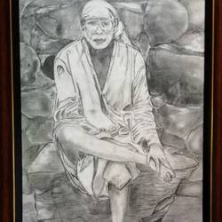 saibaba , 12 x 17 inch, samarth shejale,12x17inch,paper,photorealism drawings,graphite pencil,GAL01786629013